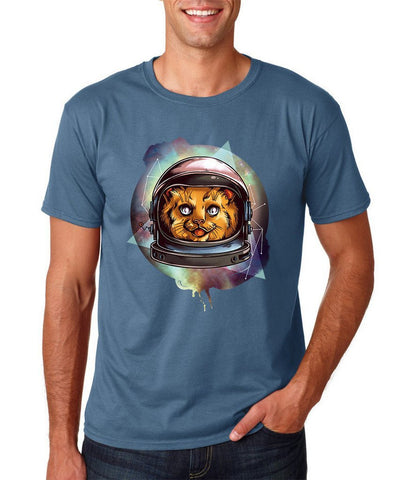 Astronaut Cosmic Kitty spaceship Men T Shirt-Gildan-Daataadirect.co.uk