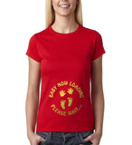"Baby now loading funny pregnancy Gold Womens T Shirt-T Shirts-Gildan-Red-S UK 10 Euro 34 Bust 32""-Daataadirect"