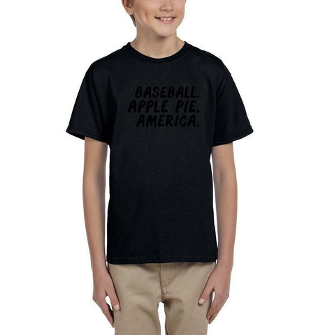 Baseball apple pie america Black Kids T Shirt-Gildan-Daataadirect.co.uk