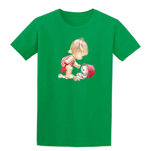 Beach Girl with Kitten in Pail 20245HL6 Mens T Shirt-Gildan-Daataadirect.co.uk