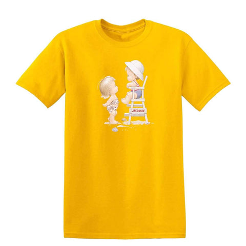 Beach Girl with Lifeguard 20243HL6 Mens T Shirt-Gildan-Daataadirect.co.uk