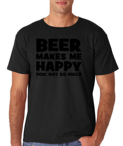 "Beer makes me happy Black Mens T Shirt-T Shirts-Gildan-Black-S To Fit Chest 36-38"" (91-96cm)-Daataadirect"