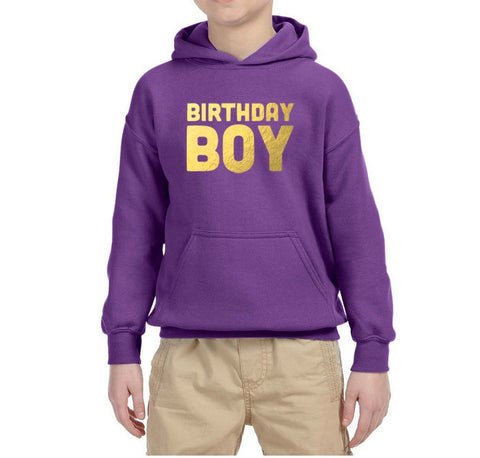Birthday Boy Kids Hoodies Gold-Gildan-Daataadirect.co.uk