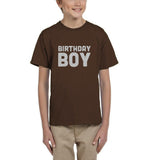 Birthday boy Kids T SHirts Silver Glitter-Gildan-Daataadirect.co.uk