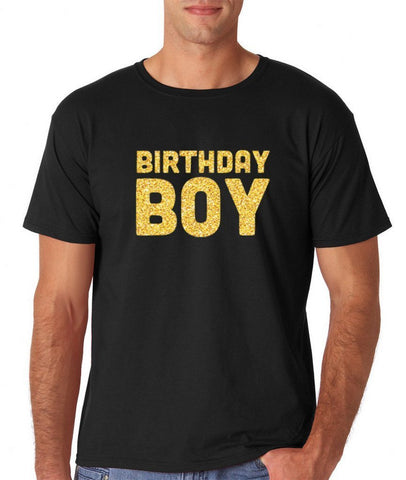 "Birthday Boy Mens T Shirts Gold Glitter-T Shirts-Gildan-Black-S To Fit Chest 36-38"" (91-96cm)-Daataadirect"