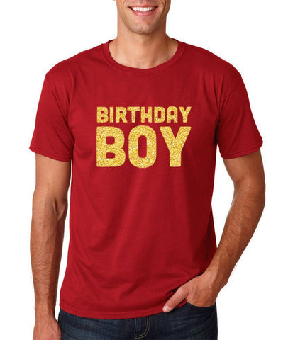 Birthday Boy Mens T Shirts Gold Glitter-Gildan-Daataadirect.co.uk