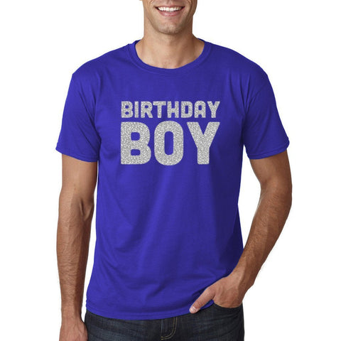 Birthday Boy Mens T Shirts Silver Glitter-Gildan-Daataadirect.co.uk