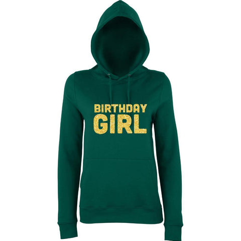 Birthday Girl Womens Hoodies Gold Glitter-AWD-Daataadirect.co.uk