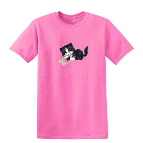 Black & White Kitten with Mouse 20220HL6 Mens T Shirt-Gildan-Daataadirect.co.uk