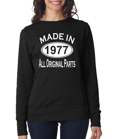 Made in 1977 All Original Parts Women Sweat Shirts White-ANVIL-Daataadirect.co.uk