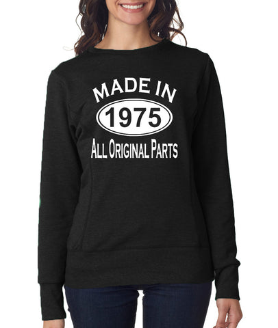Made in 1975 All Original Parts Women Sweat Shirts White-ANVIL-Daataadirect.co.uk