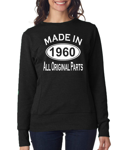 Made in 1960 All Original Parts Women Sweat Shirts White-ANVIL-Daataadirect.co.uk