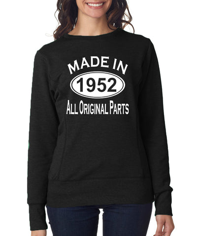 "Made in 1952 All Orignal Parts Women Sweat Shirts White-SweatShirts-ANVIL-Black-S UK 10 Euro 34 Bust 32""-Daataadirect"