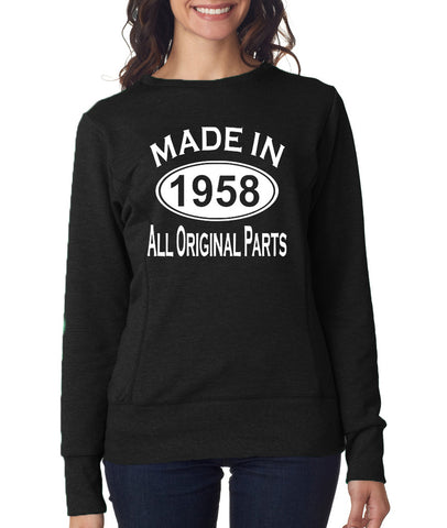 "Made in 1958 All Orignal Parts Women Sweat Shirts White-SweatShirts-ANVIL-Black-S UK 10 Euro 34 Bust 32""-Daataadirect"