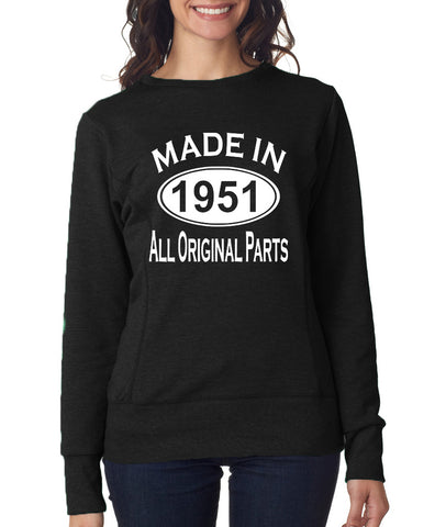Made in 1951 All Orignal Parts Women Sweat Shirts White-ANVIL-Daataadirect.co.uk