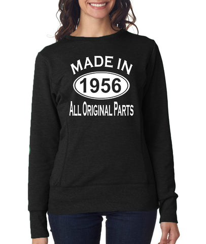 "Made in 1956 All Orignal Parts Women Sweat Shirts White-SweatShirts-ANVIL-Black-S UK 10 Euro 34 Bust 32""-Daataadirect"