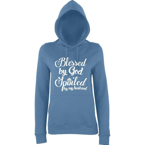 Blessed By God Spoiled By Husband Women Hoodies White-AWD-Daataadirect.co.uk