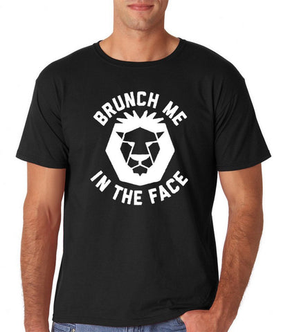 "[daataadirect.co.uk]-Brunch me in the face Men T Shirts White-T Shirts-Gildan-Black-M To Fit Chest 38-40"" (96-101cm)-Daataadirect"