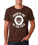 "[daataadirect.co.uk]-Brunch me in the face Men T Shirts White-T Shirts-Gildan-Dk Chocolate-S To Fit Chest 36-38"" (91-96cm)-Daataadirect"