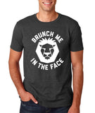 "[daataadirect.co.uk]-Brunch me in the face Men T Shirts White-T Shirts-Gildan-Dk Heather-S To Fit Chest 36-38"" (91-96cm)-Daataadirect"