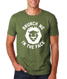 "[daataadirect.co.uk]-Brunch me in the face Men T Shirts White-T Shirts-Gildan-Heather Military Green-S To Fit Chest 36-38"" (91-96cm)-Daataadirect"