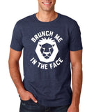 "[daataadirect.co.uk]-Brunch me in the face Men T Shirts White-T Shirts-Gildan-Heather Navy-S To Fit Chest 36-38"" (91-96cm)-Daataadirect"