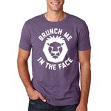"[daataadirect.co.uk]-Brunch me in the face Men T Shirts White-T Shirts-Gildan-Heather Purple-S To Fit Chest 36-38"" (91-96cm)-Daataadirect"