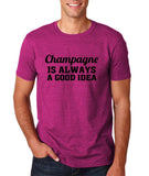 "Champagne is always a good idea Black mens T Shirt-T Shirts-Gildan-Antique Helconia-S To Fit Chest 36-38"" (91-96cm)-Daataadirect"
