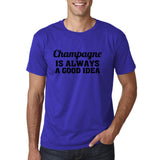 "Champagne is always a good idea Black mens T Shirt-T Shirts-Gildan-Cobalt-S To Fit Chest 36-38"" (91-96cm)-Daataadirect"