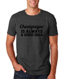 "Champagne is always a good idea Black mens T Shirt-T Shirts-Gildan-Dk Heather-S To Fit Chest 36-38"" (91-96cm)-Daataadirect"