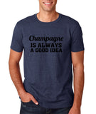 "Champagne is always a good idea Black mens T Shirt-T Shirts-Gildan-Heather Navy-S To Fit Chest 36-38"" (91-96cm)-Daataadirect"