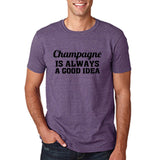 "Champagne is always a good idea Black mens T Shirt-T Shirts-Gildan-Heather Purple-S To Fit Chest 36-38"" (91-96cm)-Daataadirect"