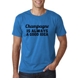 "Champagne is always a good idea Black mens T Shirt-T Shirts-Gildan-Sapphire-S To Fit Chest 36-38"" (91-96cm)-Daataadirect"