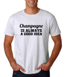 "Champagne is always a good idea Black mens T Shirt-T Shirts-Gildan-White-S To Fit Chest 36-38"" (91-96cm)-Daataadirect"