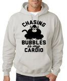"Chasing bubbles is my cardio chimpanzee Mens Hoodies Black-Hoodies-Gildan-Ash-S To Fit Chest 36-38"" (91-96cm)-Daataadirect"