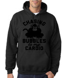 "Chasing bubbles is my cardio chimpanzee Mens Hoodies Black-Hoodies-Gildan-Black-S To Fit Chest 36-38"" (91-96cm)-Daataadirect"