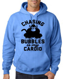 "Chasing bubbles is my cardio chimpanzee Mens Hoodies Black-Hoodies-Gildan-Carolina Blue-S To Fit Chest 36-38"" (91-96cm)-Daataadirect"