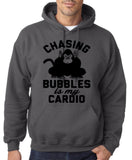 "Chasing bubbles is my cardio chimpanzee Mens Hoodies Black-Hoodies-Gildan-Charcoal-S To Fit Chest 36-38"" (91-96cm)-Daataadirect"