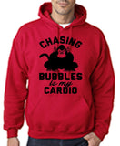 "Chasing bubbles is my cardio chimpanzee Mens Hoodies Black-Hoodies-Gildan-Cherry Red-S To Fit Chest 36-38"" (91-96cm)-Daataadirect"