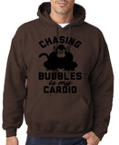 "Chasing bubbles is my cardio chimpanzee Mens Hoodies Black-Hoodies-Gildan-Dk Chocolate-S To Fit Chest 36-38"" (91-96cm)-Daataadirect"
