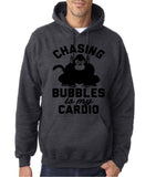 "Chasing bubbles is my cardio chimpanzee Mens Hoodies Black-Hoodies-Gildan-Dk Heather-S To Fit Chest 36-38"" (91-96cm)-Daataadirect"