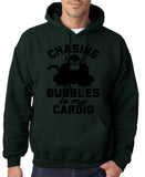 "Chasing bubbles is my cardio chimpanzee Mens Hoodies Black-Hoodies-Gildan-Forest Green-S To Fit Chest 36-38"" (91-96cm)-Daataadirect"