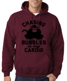 "Chasing bubbles is my cardio chimpanzee Mens Hoodies Black-Hoodies-Gildan-Garmet-S To Fit Chest 36-38"" (91-96cm)-Daataadirect"