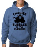 "Chasing bubbles is my cardio chimpanzee Mens Hoodies Black-Hoodies-Gildan-Indigo Blue-S To Fit Chest 36-38"" (91-96cm)-Daataadirect"