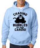 "Chasing bubbles is my cardio chimpanzee Mens Hoodies Black-Hoodies-Gildan-Light Blue-S To Fit Chest 36-38"" (91-96cm)-Daataadirect"