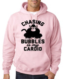 "Chasing bubbles is my cardio chimpanzee Mens Hoodies Black-Hoodies-Gildan-Light pink-S To Fit Chest 36-38"" (91-96cm)-Daataadirect"
