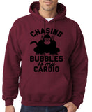 "Chasing bubbles is my cardio chimpanzee Mens Hoodies Black-Hoodies-Gildan-Maroon-S To Fit Chest 36-38"" (91-96cm)-Daataadirect"