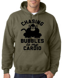 "Chasing bubbles is my cardio chimpanzee Mens Hoodies Black-Hoodies-Gildan-Military Green-S To Fit Chest 36-38"" (91-96cm)-Daataadirect"