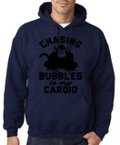 "Chasing bubbles is my cardio chimpanzee Mens Hoodies Black-Hoodies-Gildan-Navy Blue-S To Fit Chest 36-38"" (91-96cm)-Daataadirect"