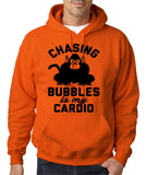 "Chasing bubbles is my cardio chimpanzee Mens Hoodies Black-Hoodies-Gildan-Orange-S To Fit Chest 36-38"" (91-96cm)-Daataadirect"